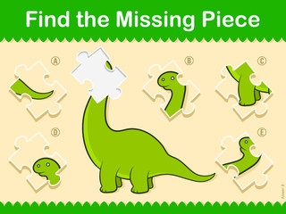 Easy kids Find The Missing Piece Puzzle Dinosaur