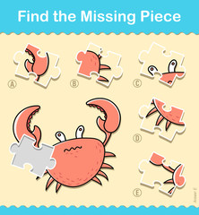 Kids entertaining puzzle piece game with a crab