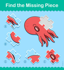 Find the missing part kids puzzle game octopus
