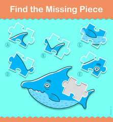 Kids puzzle game. Find the missing shark piece