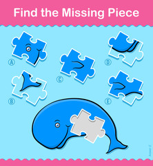 Kids cartoon Whale Find The Missing Piece Puzzle