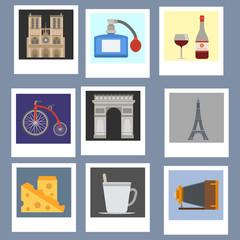 Paris icons vector famous travel cuisine traditional modern france culture europe eiffel Paris fashion design architecture symbols illustration.