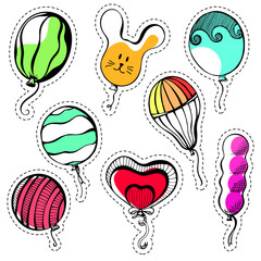 Set of stickers. Balls of different shapes and colors.Hand drawn, isolated on a white background. Vector illustration.