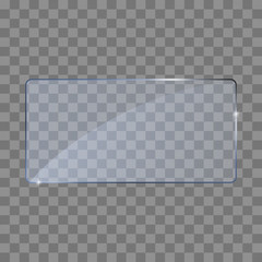 Realistic glass transparent plates, square, rectangle and round.