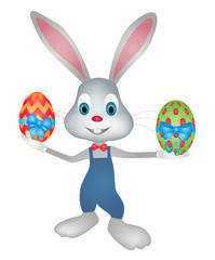Easter bunny cartoon character holding easter eggs vector