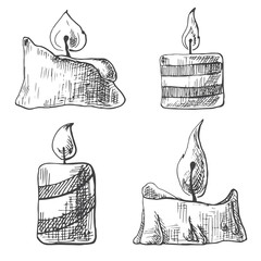 Hand drawn set of burning candles. Vector illustration of a sketch style.