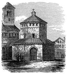 Fototapete - victorian engraving of the baptistry at Novara Cathedral, Novara, Italy