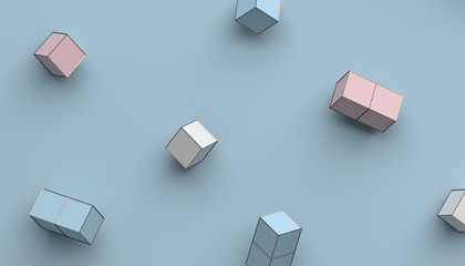 Abstract 3d rendering of geometric shapes. Modern background with simple forms. Minimalistic design with cubes, for poster, cover, branding, banner, placard.