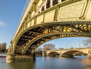Railway bridge in Richmond in the winter morning, London