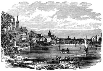 Wall Mural - victorian engraving of Basel, Switzerland
