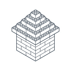 House of building blocks in isometric style
