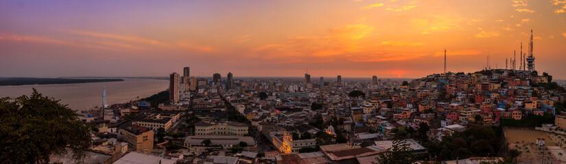 Guayaquil skyline, panoramic view at sunset from Las Peñas, Ecuador. Wall mural