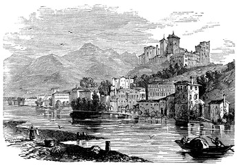 Fotomurales - victorian engraving of Bassano del Grappa, Italy