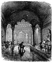 Wall Mural - victorian engraving of a Turkish bath