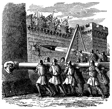 victorian engraving of a battering ram