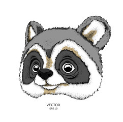 Cartoon raccoon drawing. A good character for children. Vector illustration