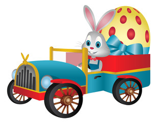 Easter bunny driving vintage car with giant easter egg