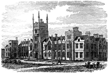 Wall Mural - victorian engraving of Queen's College, Belfast