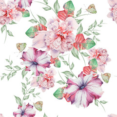 Bright seamless pattern with flowers. Peony. Petunia.  Watercolor illustration. Hand drawn.