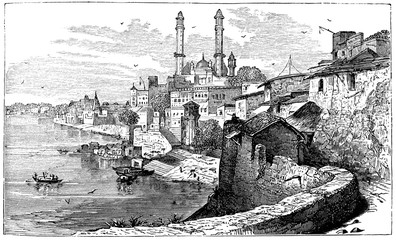 Wall Mural - victorian engraving of Varanasi, India