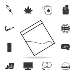 Drug cocain in plastic bag with zipper icon. Set of Human weakness and Addiction element icon. Premium quality graphic design. Signs, outline symbols collection icon for websites