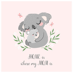Mother's day greeting card or poster with cute koala mother and baby on pink background.