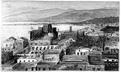 Wall Mural - victorian engraving of Beirut, Lebanon