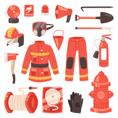 Firefighter vector firefighting equipment firehose hydrant and fire extinguisher illustration set of fireman uniform with helmet isolated on white background