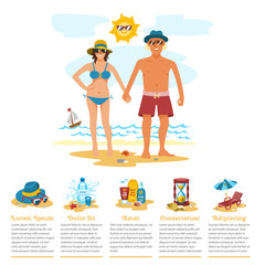 Man and woman sunbathing infographics couple vacation summer time on the beach sand tropical nature vector illustration.
