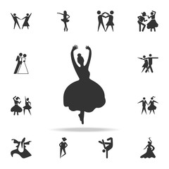 silhouette of ballerina icon. Set of people in dance  element icons. Premium quality graphic design. Signs and symbols collection icon for websites, web design, mobile app