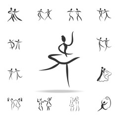 ballerina icon. Set of people in dance  element icons. Premium quality graphic design. Signs and symbols collection icon for websites, web design, mobile app