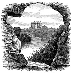 Wall Mural - victorian engraving of Blarney Castle, Ireleand