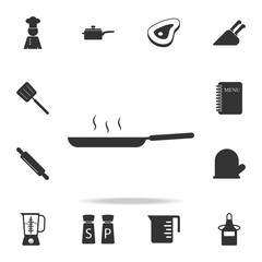 Frying pan icon. Set of Chef and kitchen  element icons. Premium quality graphic design. Signs and symbols collection icon for websites, web design, mobile app