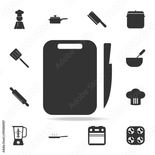Board And Knife Icon Set Of Chef And Kitchen Element Icons Premium