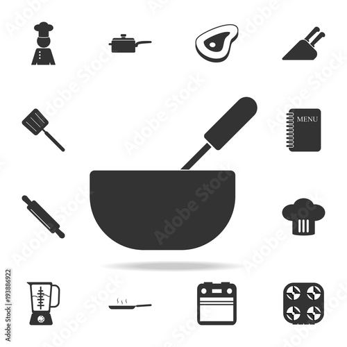 Whisk And Bowl Or Mixing Icon Set Of Chef And Kitchen Element Icons