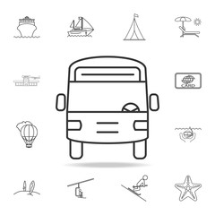 Bus line icon. Set of Tourism and Leisure icons. Signs, outline furniture collection, simple thin line icons for websites, web design, mobile app, info graphics