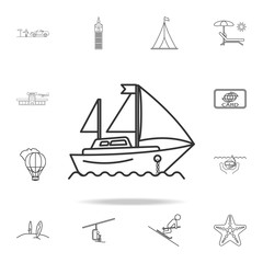 yacht line icon. Set of Tourism and Leisure icons. Signs, outline furniture collection, simple thin line icons for websites, web design, mobile app, info graphics