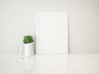 Frame white and vase plant