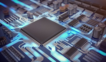 3D rendered illustration of electronic circuit with microchips and glowing signals.