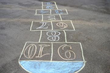Chalk-painted hopscotch on asphalt