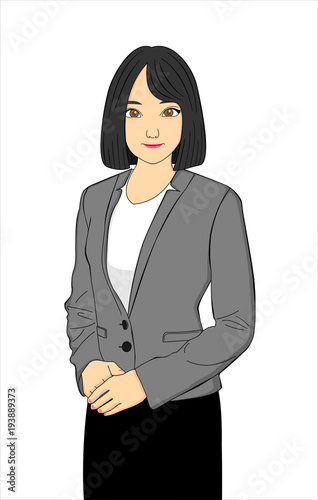 Cute Anime Business Girl With Black Short Hair Stock Image And