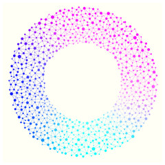 Blue and pink blended colorful graphic frame background showing unity togetherness. Networking political illustration in a circle working together concept