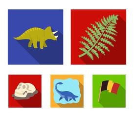 Sea dinosaur,triceratops, prehistoric plant, human skull. Dinosaur and prehistoric period set collection icons in flat style vector symbol stock illustration web.