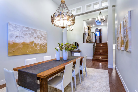 New custom built home boasts spacious dining area with high ceiling