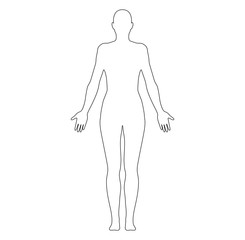 Anatomical Position Anterior View Female Body Shape Vector Outline