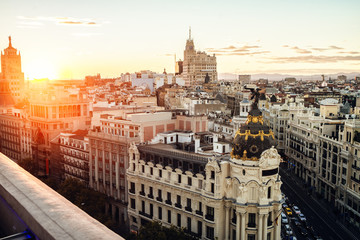 Cityscape of Madrid at sunset, with Gran Vía street