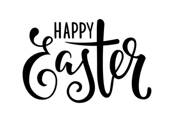 happy Easter Hand drawn calligraphy and brush pen lettering. design for holiday greeting card and invitation of the happy Easter day