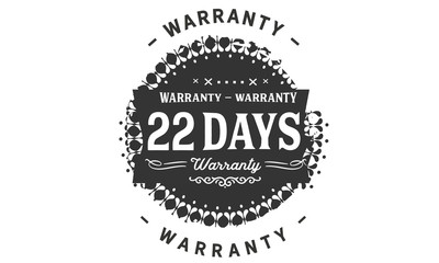 22 days warranty icon vintage rubber stamp guarantee