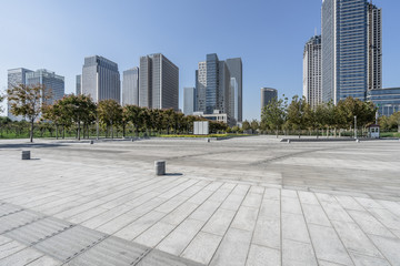 modern buildings and empty pavement in china. Wall mural