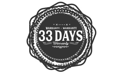 33 days warranty icon vintage rubber stamp guarantee